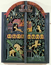 Portes de bois sculpté de l'hekhal d'une synagogue polonaise (XVIIe siècle, Wolson Museum, Jérusalem)