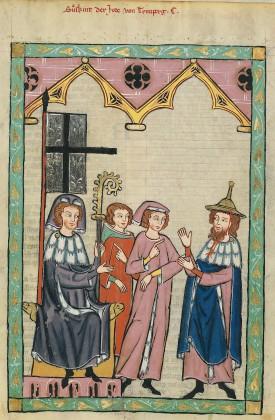 Süsskind von Trimberg portant un chapeau juif avec un dignitaire de la ville de Constance (XIVe siècle, bibliothèque de l'université d'Heidelberg)