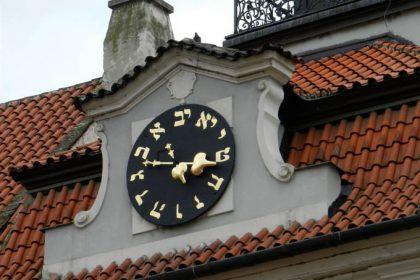 Horloge à caractères hébreux, Hôtel de Ville de Prague