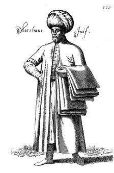 Gravure d'après Nicolas de Nicolay, Marchand juif de Turquie (1568, musée d'Art et d'Histoire du Judaïsme, Paris)