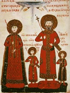 Miniature médiévale représentant la tsarine Theodora, le tsar Alexandre et leurs enfants