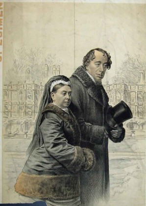 Tom Merry, La Reine Victoria avec Benjamin Disraeli à Hughenden, 1887
