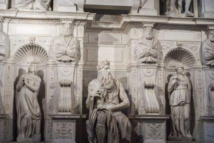 La fameuse statue de Moisie par Michel Ange au sein de l'église de San Pietro in Vincoli