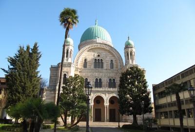 Dessinée par Marco Treves, aidé par les architectes Mariano Falcini et Vincenzo Micheli, cette synagogue, à la majestueuse façade de pierre blanche et rose, est dominée par une grande coupole verte à laquelle répondent deux petits minarets sur le devant.