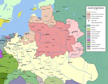Carte du Yiddishland avant la partition de la Pologne