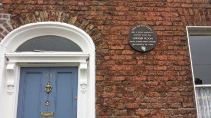 Plaque celebrating the house where Leopold Bloom was imagined by Joyce