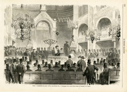 Synagogue on rue Notre Dame de Nazareth, engraving on wood by Charles Maurand, 1867