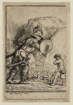 Rembrandt, David and Goliath, engraving, 1655