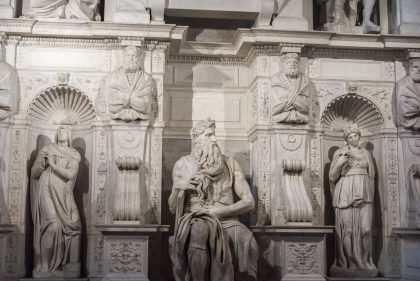 Famous statue of Moses by Michelangelo located in a church in Rome