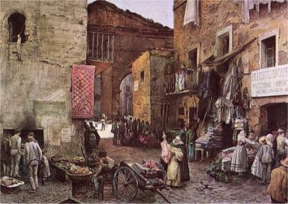 Painting of the ghetto where Jews of Rome used to live
