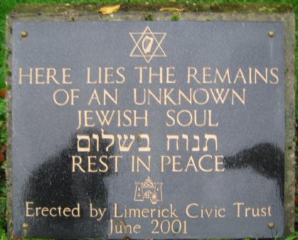 grave of an unknown jew at the cemetery of Limerick