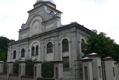 Exterior view of the building housing the synagogue of Kaunas