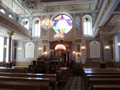 Inside the synagogue of Tbilisi with a colored maguen david
