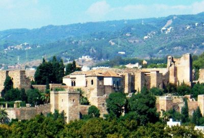 Large view of the Alcazaba in the city of Malaga